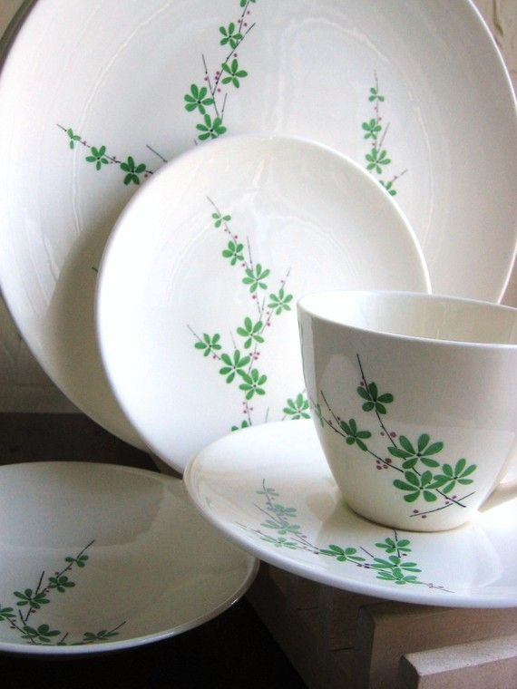 Vintage Dinnerware Knowles Greenbriar Circa 1950 Fabulous Madmen Dinner for 4 & Vintage Dinnerware Knowles Greenbriar Circa 1950 Fabulous Madmen ...