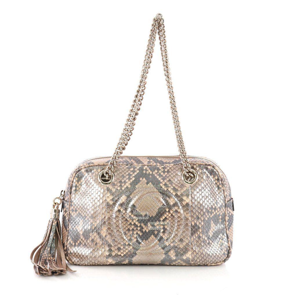 5879109b2f1 Buy Gucci Soho Chain Zipped Shoulder Bag Python Medium Brown 3694328 – Rebag