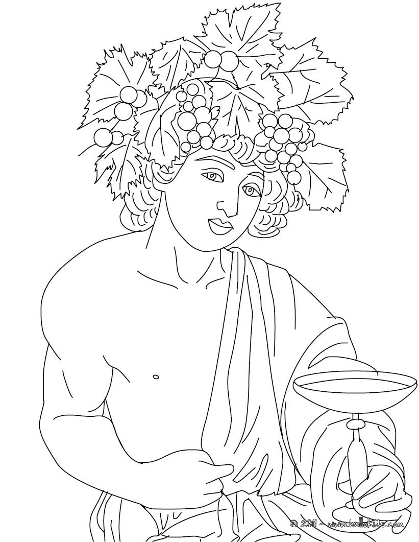 DIONYSUS the Greek god of wine coloring page Mundo clsico
