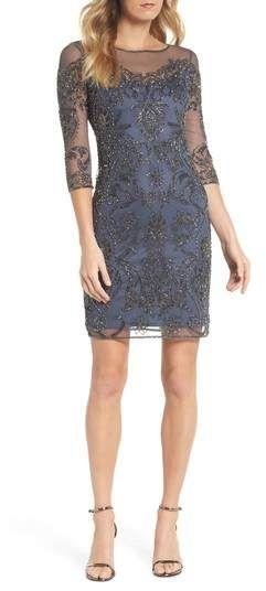 9001f6ed Pisarro Nights Beaded Illusion Mesh Sheath Dress in 2019   Products ...