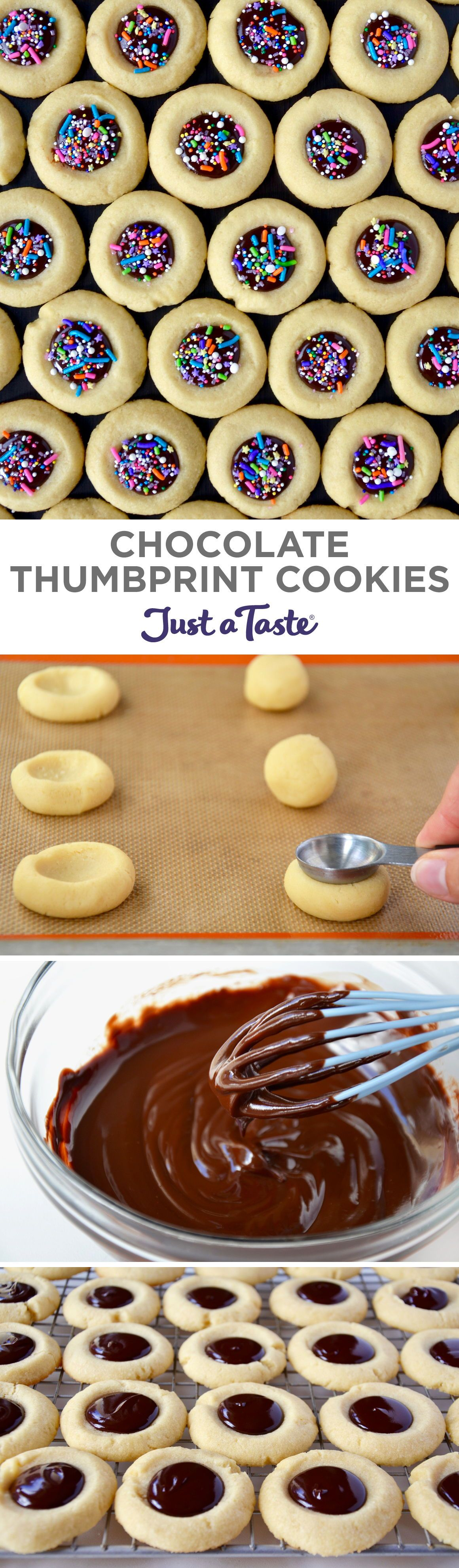 Chocolate Thumbprint Cookies  Just a Taste These easy Chocolate Thumbprint Cookies are the perfect addition to your holiday cookie platter A classic buttery shortbread co...