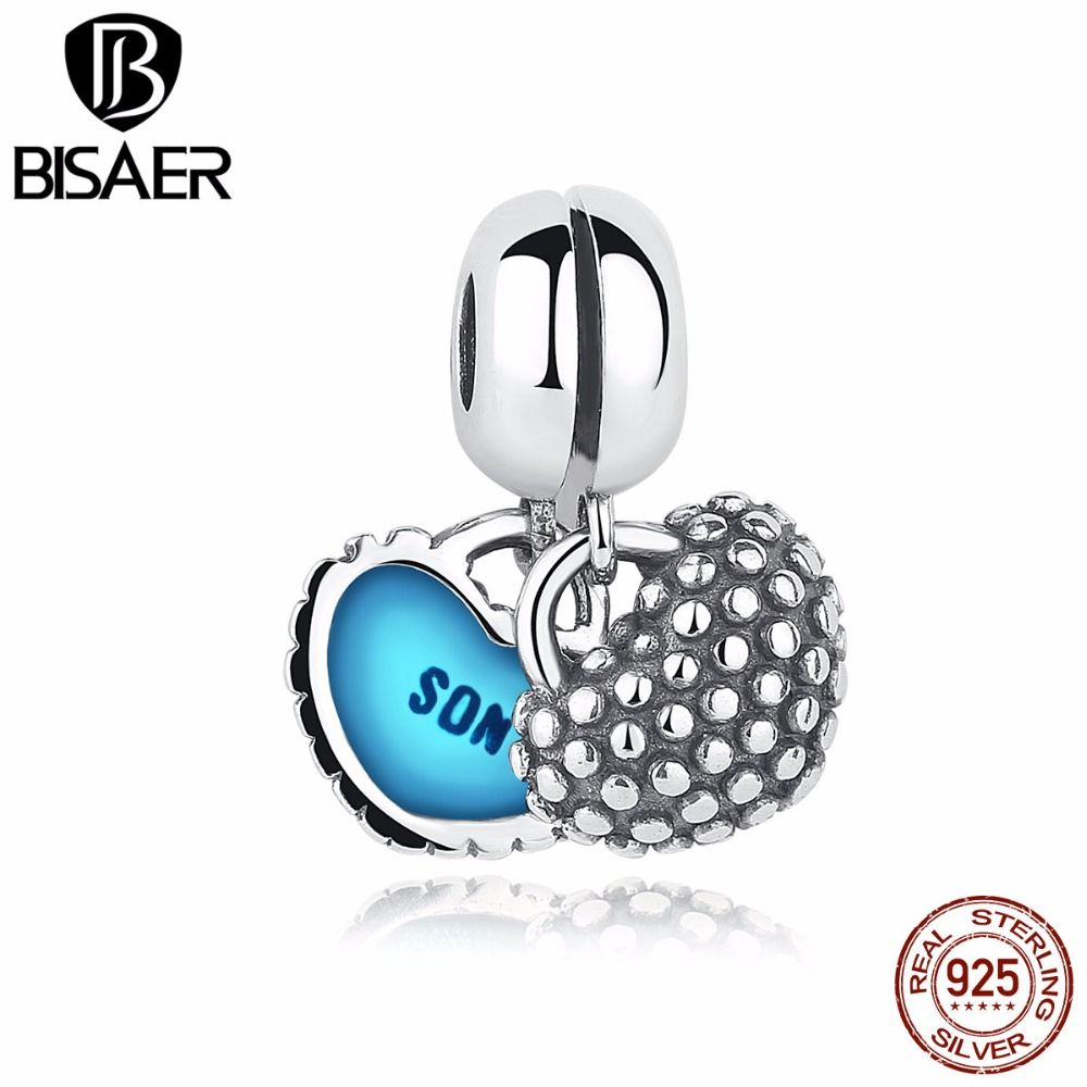 b3ded4f23eb Pure 925 Sterling Silver Piece Of My Heart Mother Son Blue Enamel ...