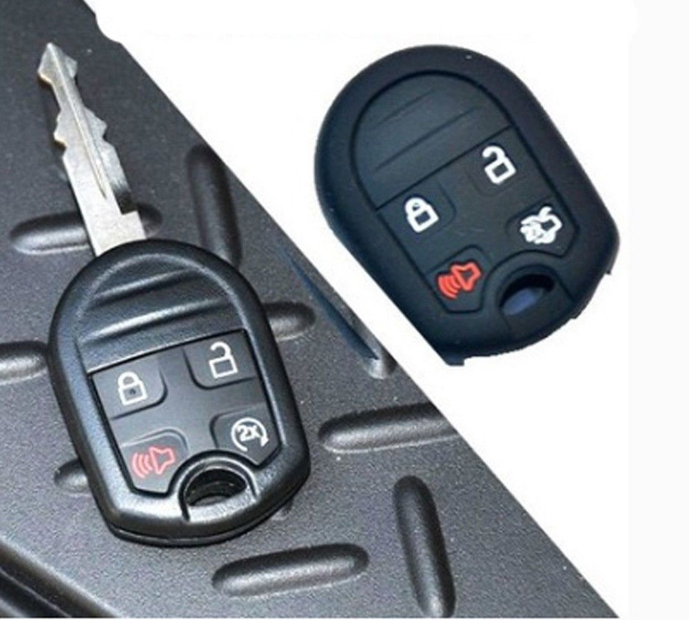 New 4 Ons Black Key Fob Case Cover Skin Jacket Protector For Ford Mustang