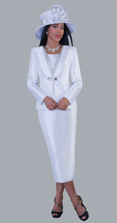 White 3pc Skirt Suit Church Wedding Mother of the Bride Dress 4450 ...