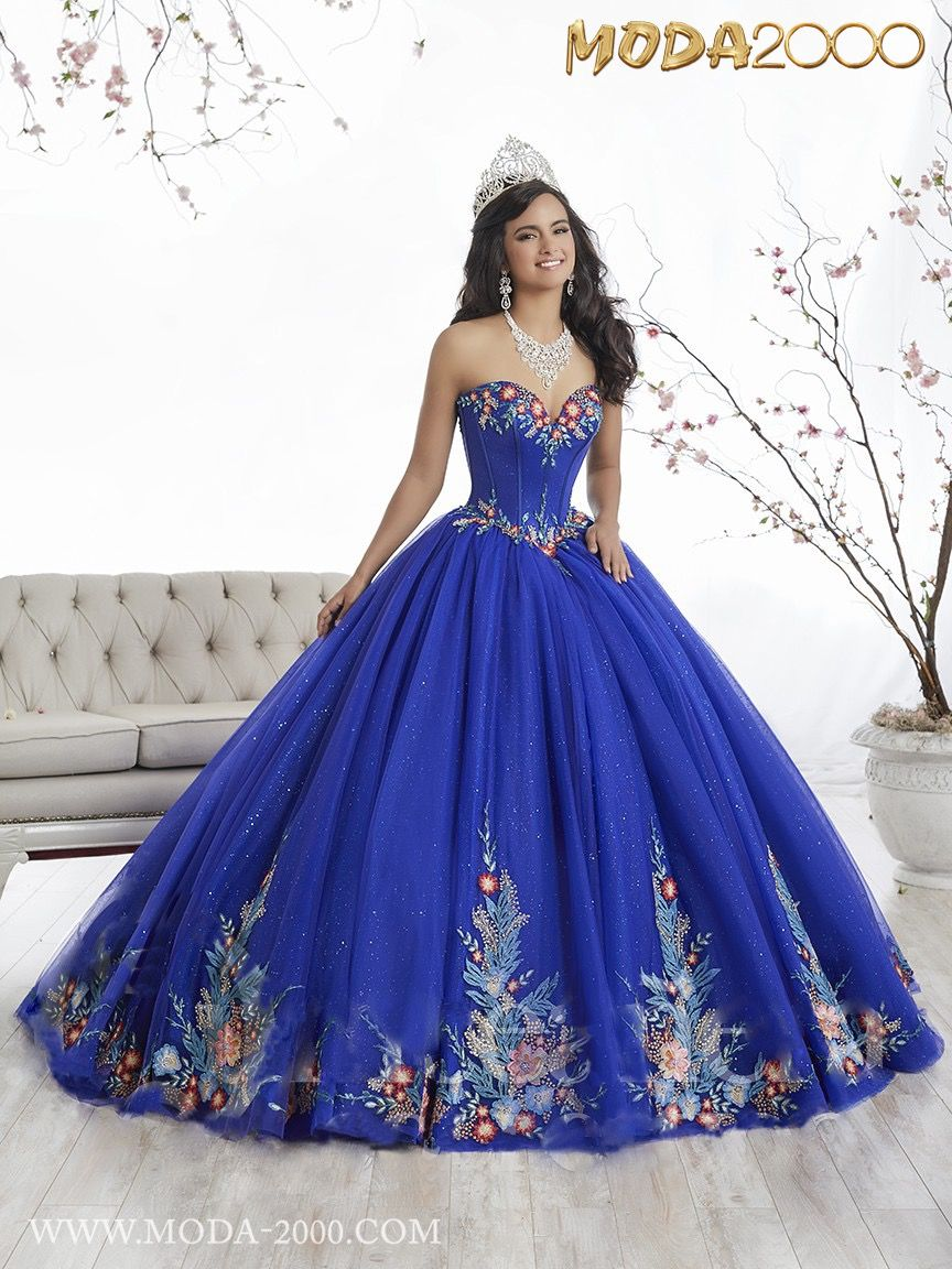 Summer beautiful ocean blue with embroidery quinceanera dress