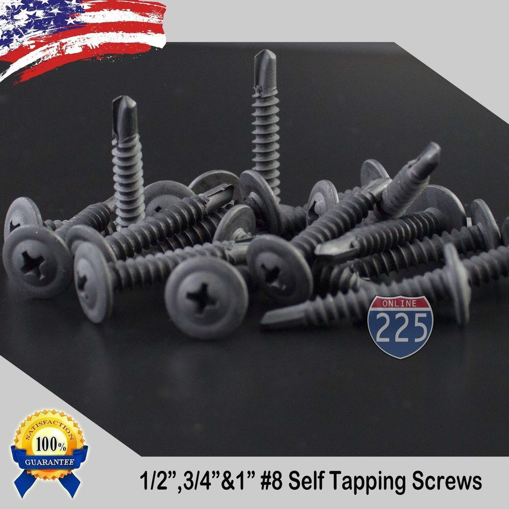 8 Black Wafer Head Tek Pointed Metal Screws 1 2 3 4 1 Phillips Truss Head Screws And Bolts Screws Metal