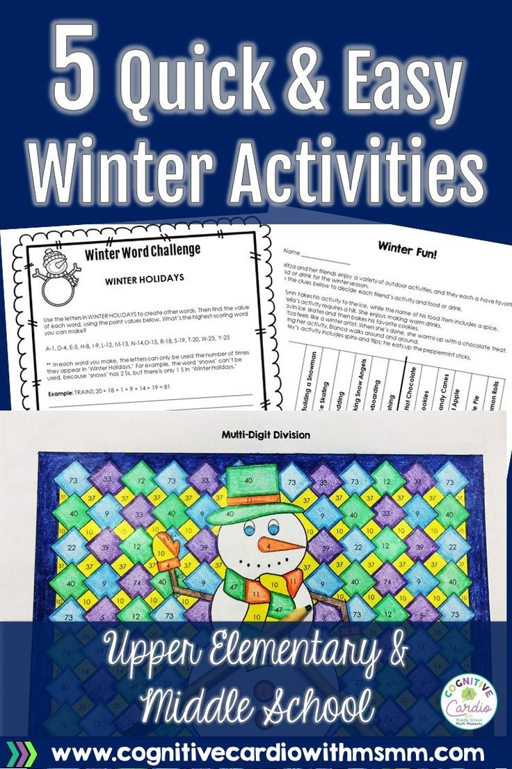 Five quick and easy winter activities for upper elementary and middle school