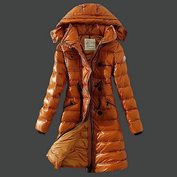 Cheap Moncler Long Coats For Women Orange Sale
