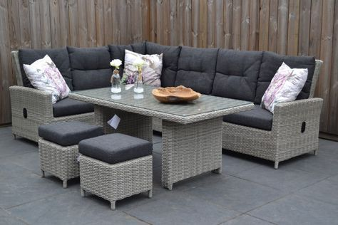 New york verstelbare loungeset hoekbank light kobo grey met hoge