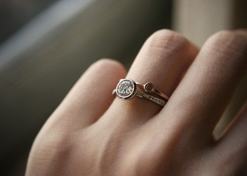 Sterling Silver Bezel Ring and Rose Gold Love Ring Set of 2 | kellin - Jewelry on ArtFire
