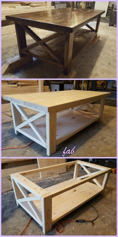 DIY Rustic X Coffee Table Tutorial-Free Plan images