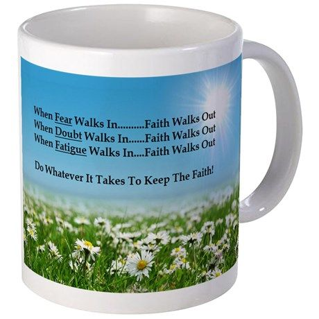 Sale! Now $9.95 was $12.99 Faith Walks Out Mugs on CafePress.com