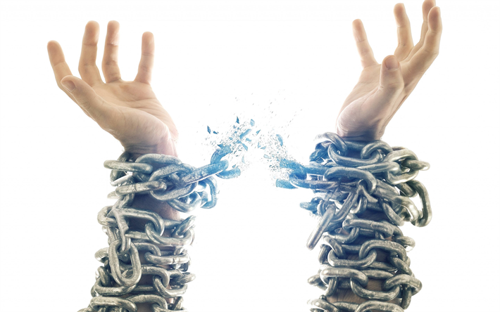 Download Wallpapers Broken Chains On Hands Release Freedom Concepts Free