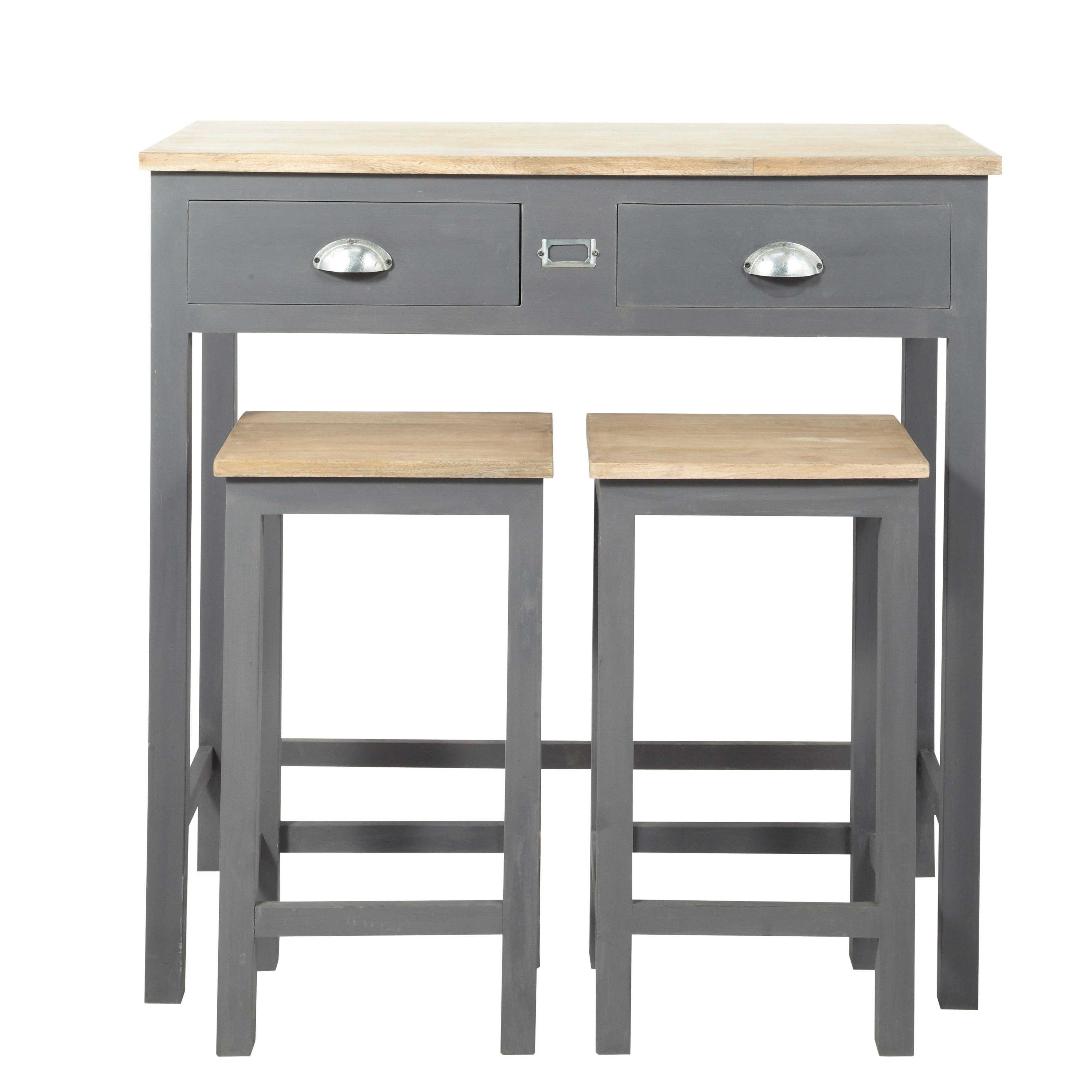 Table haute de salle à manger haute 2 tabourets en bois L 90 cm ...