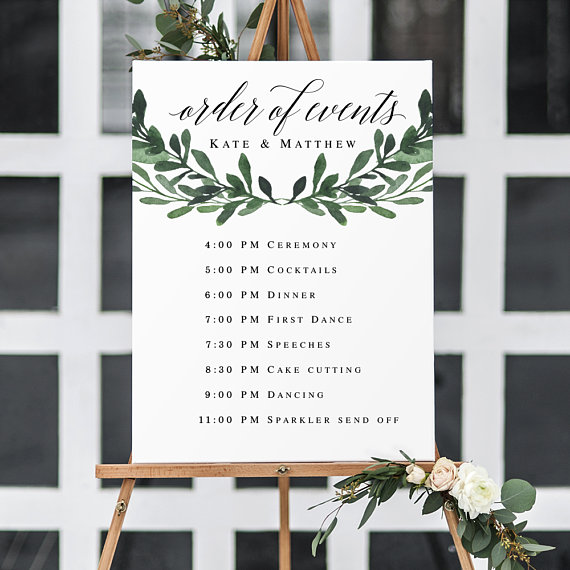 Order Of Events Wedding Template Greenery Wedding Template Etsy In 2021 Wedding Reception Timeline Wedding Timeline Template Wedding Order