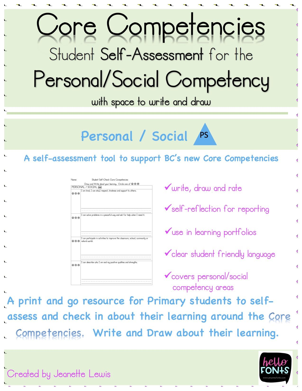 PersonalSocial Core Competency SelfAssessment With Space For