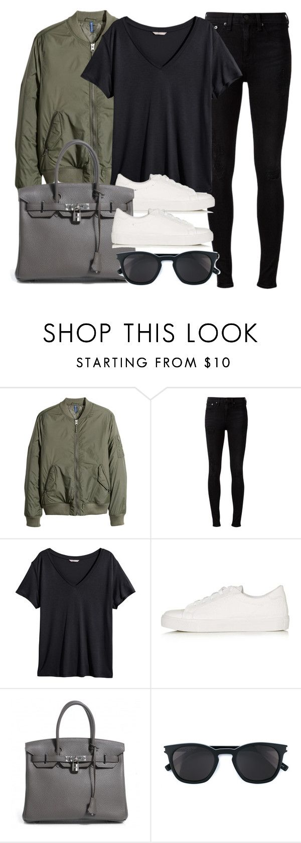 """Style #11323"" by vany-alvarado ❤ liked on Polyvore featuring H&M, rag & bone, Topshop, Hermès and Yves Saint Laurent"