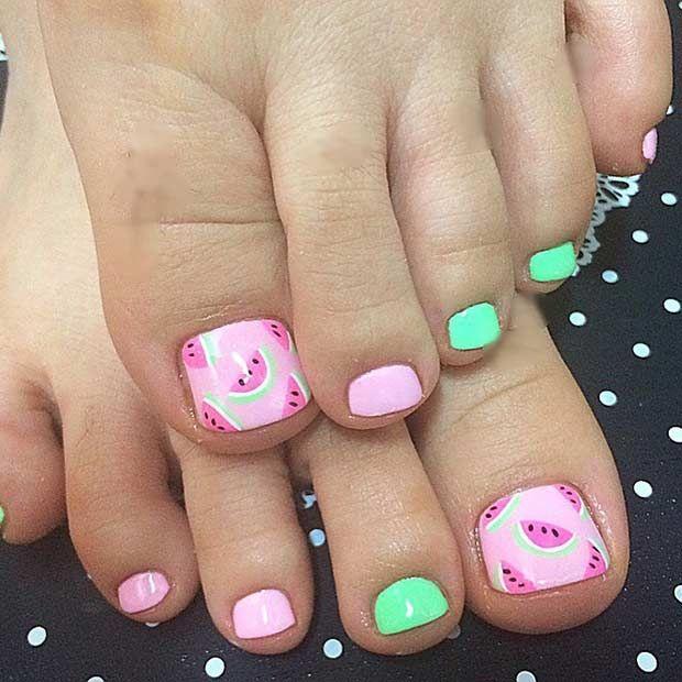 Cute, Watermelon Toe Nail Design - 25 Toe Nail Designs That Scream Summer StayGlam Beauty Pinterest