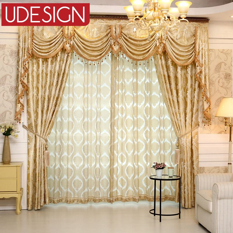 Cheap europeo gloden real cortinas de lujo para el for Cortinas clasicas elegantes
