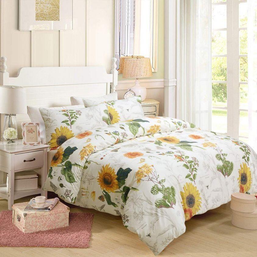 Floral Sunflower Design Bedding 3pc 1 Duvet Cover 2 Pillowcase