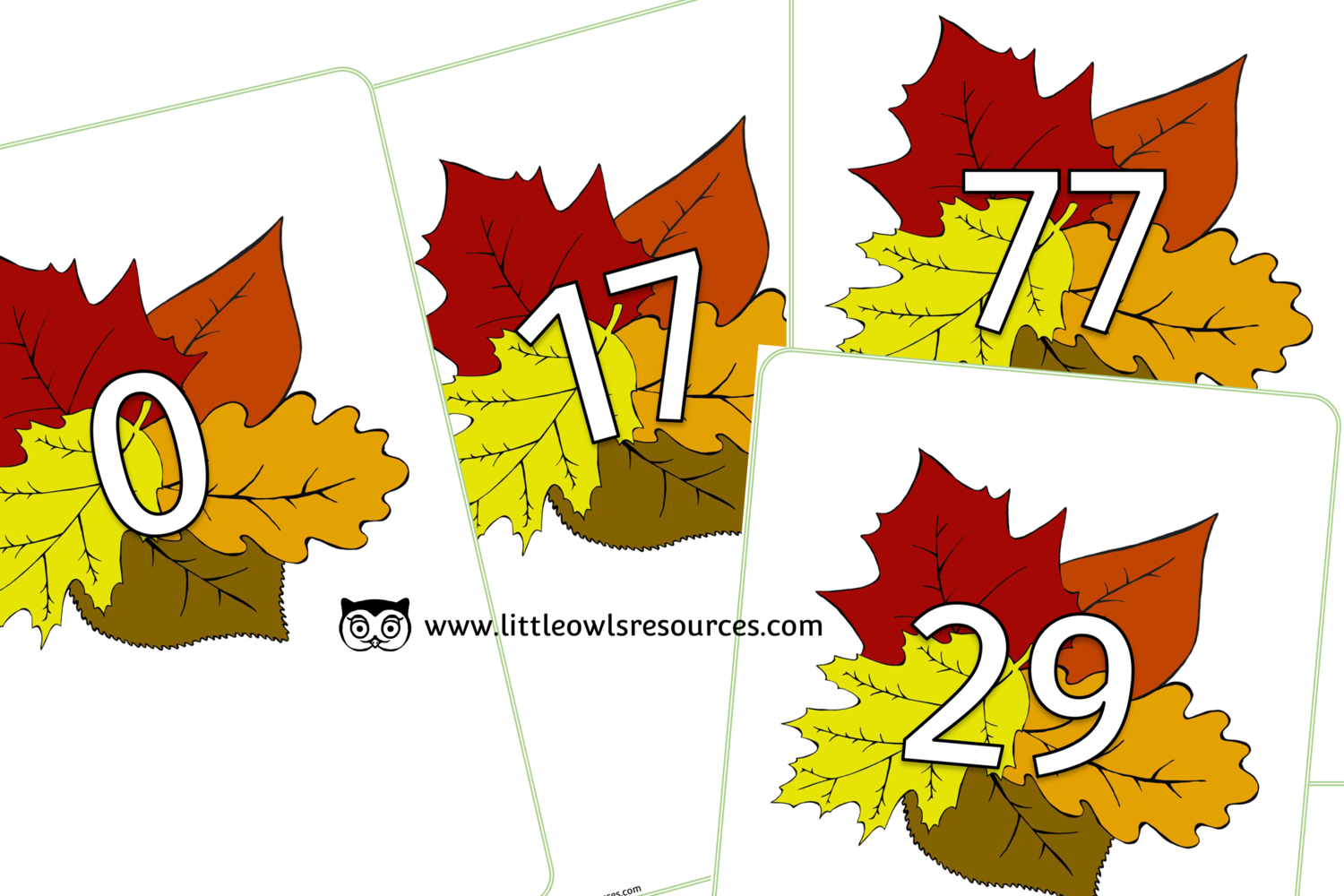 Free Autumn Leaves Number Line Early Years Eyfs