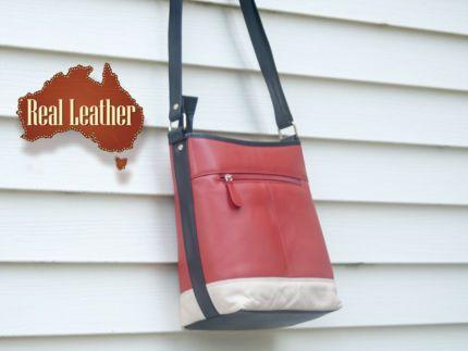 Leather Crossbody Shoulder Bag In Multi Colour
