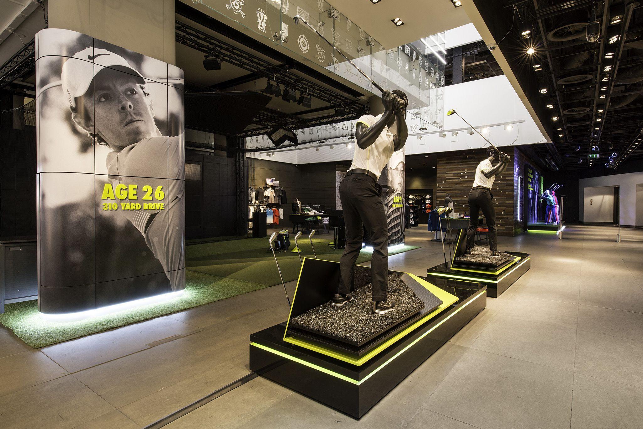 Nike retail interior vapor golf at niketown london for Retail interior designers in london