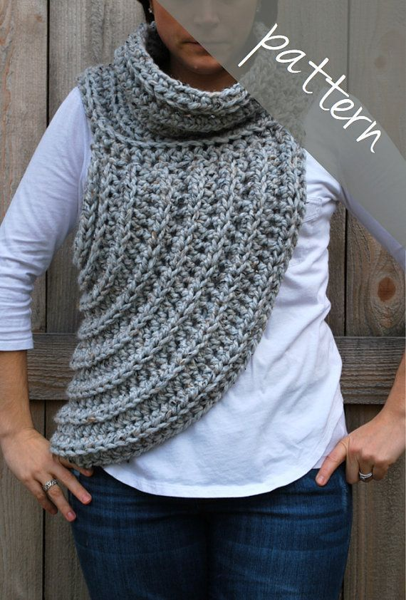 Crochet PATTERN - Cross Body Cowl Scarf - Huntress Vest - Chunky ...