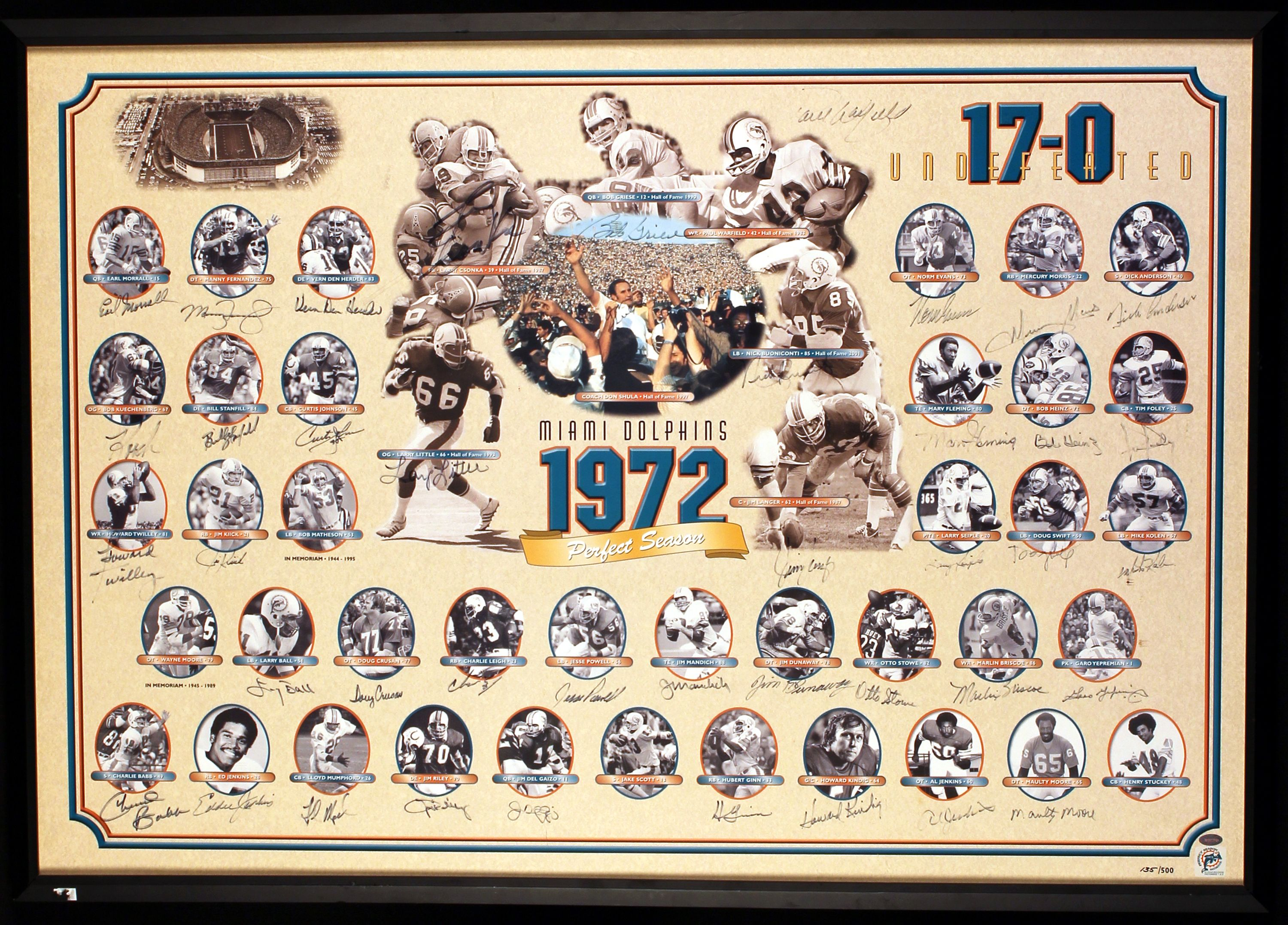 1972 perfect season miami dolphins team signed and framed 1972 perfect season miami dolphins team signed and framed jeuxipadfo Image collections