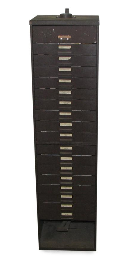 Industrial Metal Tall Narrow Cabinet with Multiple Drawers ...