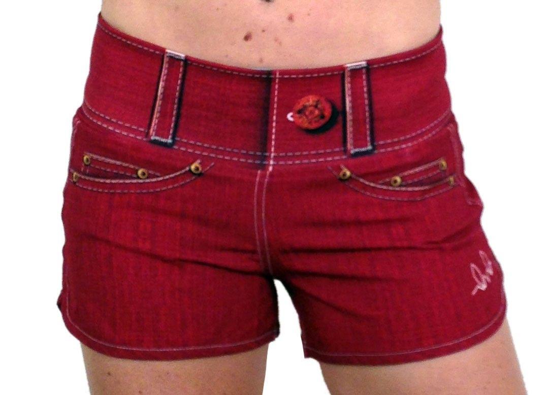 c2222afa66 Ink n Burn Womens Red Performance Denim Shorts Front Waistband Up ...
