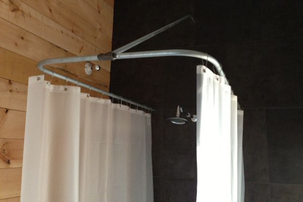 Diy Shower Curtain From Ceiling Also There Are Extra Long