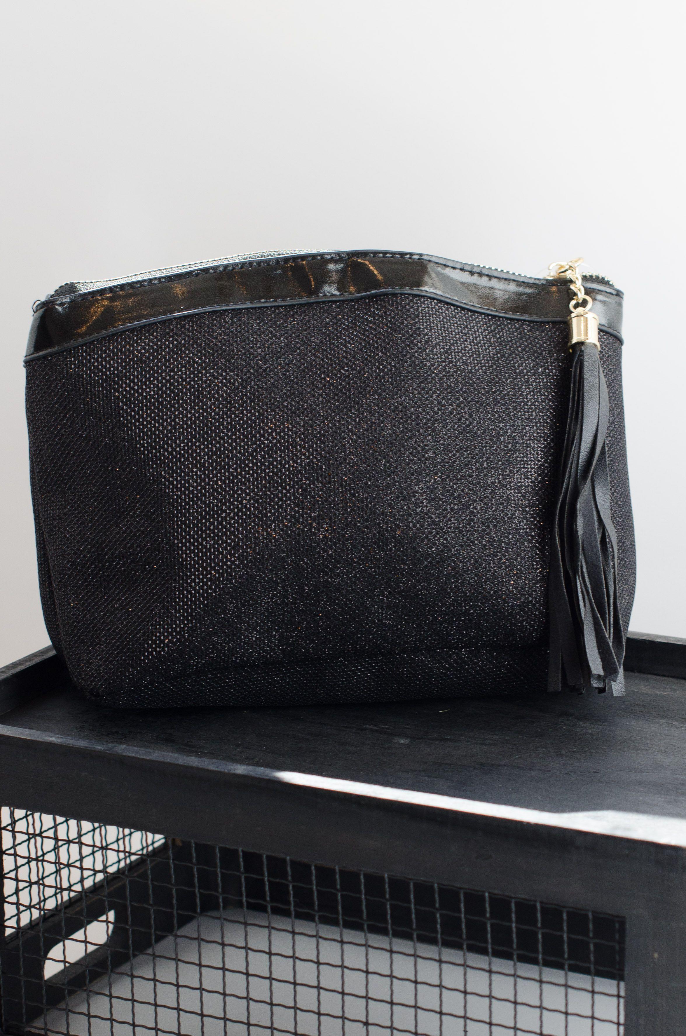 black cosmetic makeup bag. great for bridesmaid gift