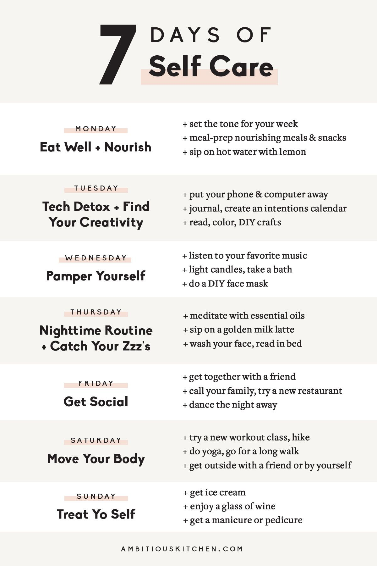 7-Day Self Care Challenge #healthyliving