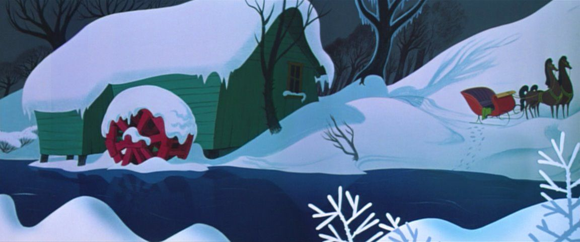 Animation Backgrounds For The Once Upon A Wintertime Segment From Walt Disney S Melody Time 1948 Animation Background Disney Animated Films Animation
