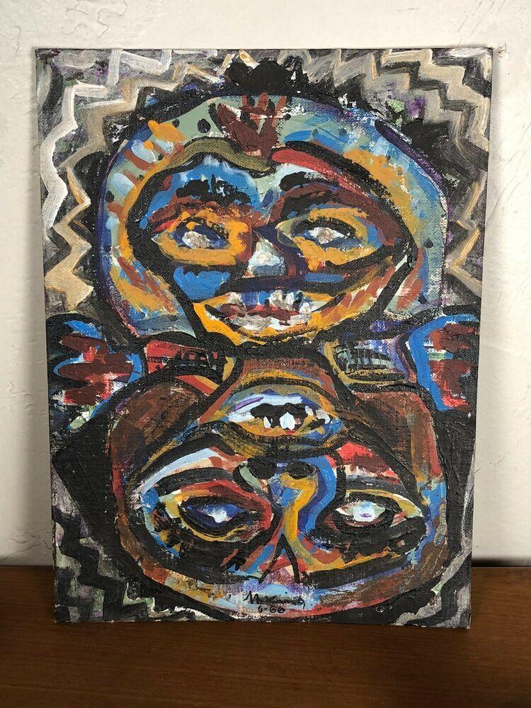 Mid century modern artist signed 1966 abstract oil on