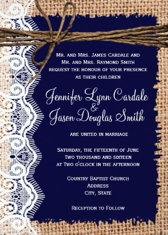 Rustic Country Navy Blue And Burlap Lace Twine Wedding Invitations