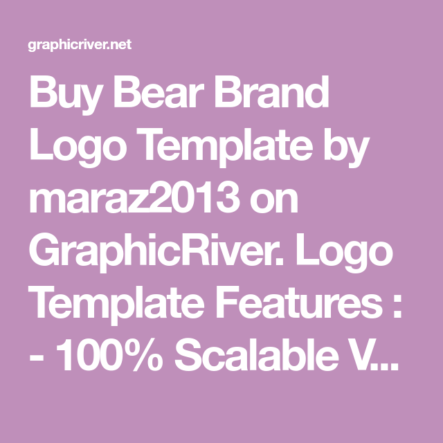 Buy Bear Brand Logo Template by maraz2013 on GraphicRiver  Logo