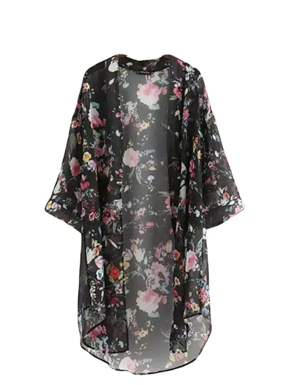 Bluetime Women's 3/4 Sleeve Floral High Low Chiffon Kimono ...