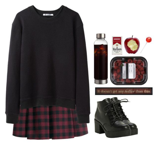 """""""Mandy"""" by fionita ❤ liked on Polyvore featuring H&M, T By Alexander Wang, black, red, skirt, Boots and coffe"""