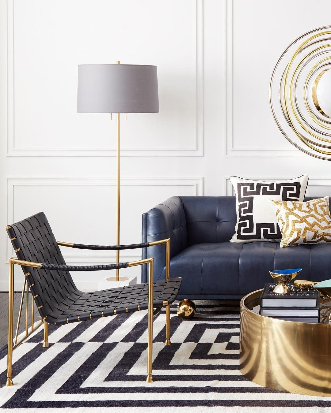 """– Jonathan Adler (@jonathanadler) på Instagram: """"Brass spokes support a spacious seat woven from strips of black leather with an inviting removable…"""""""