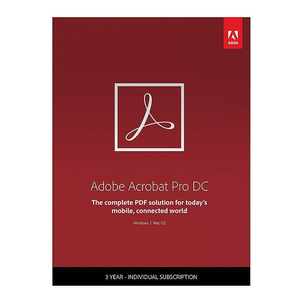 Adobe Acrobat Pro DC, 3-Year Subscription #excelwordaccessetc