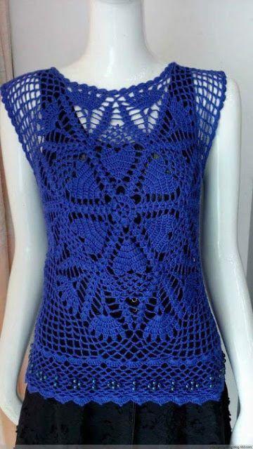 82b34f1a8 Katia Ribeiro Moda & Decoração Handmade: Blusa em Crochê Azul Royal com  Gráficos