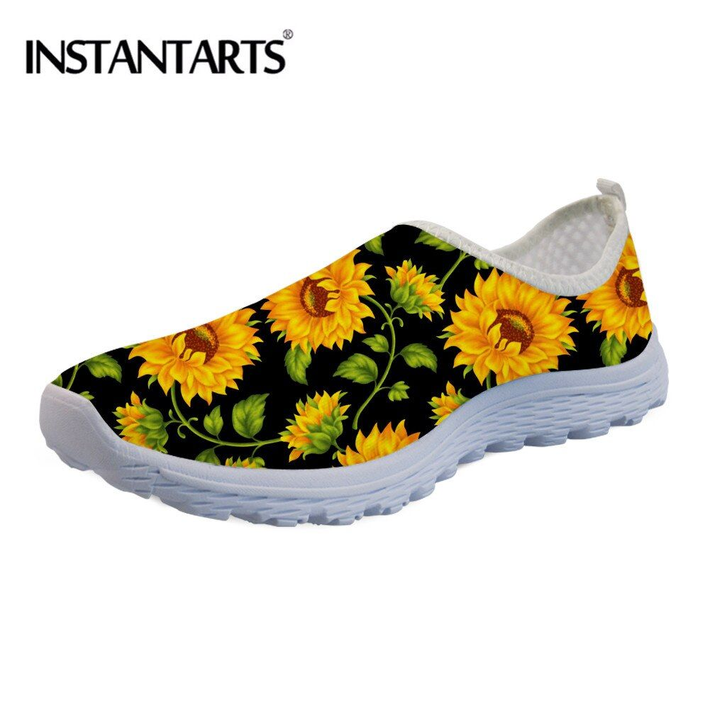 INSTANTARTS Slip-on Women Sneakers for Teenager Girl Sunflower Vintage Printing Summer Beach Water Shoes Mesh Flat Shoes Female