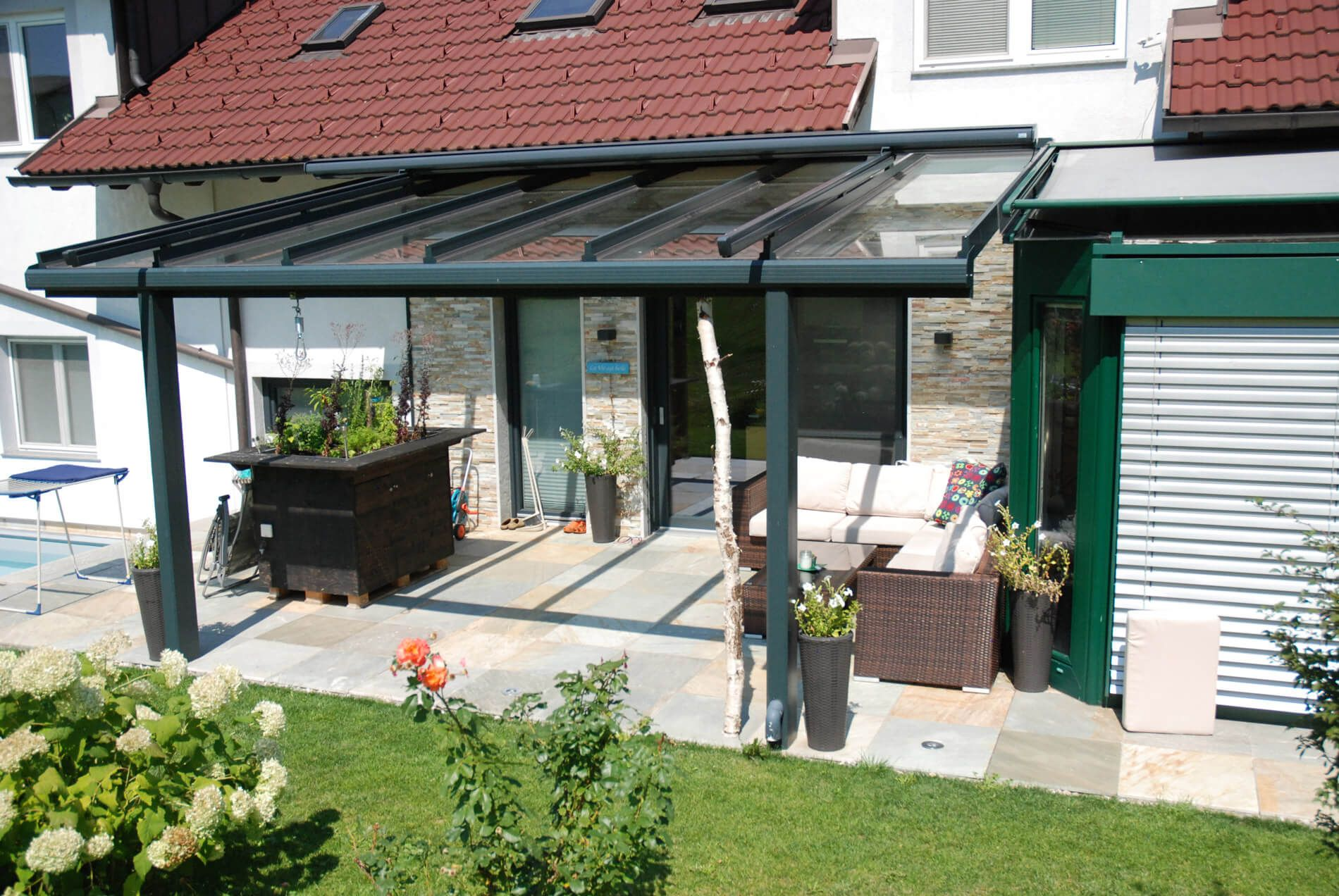 Terrassendächer Alu Glas anthrazit Terrassenüberdachung