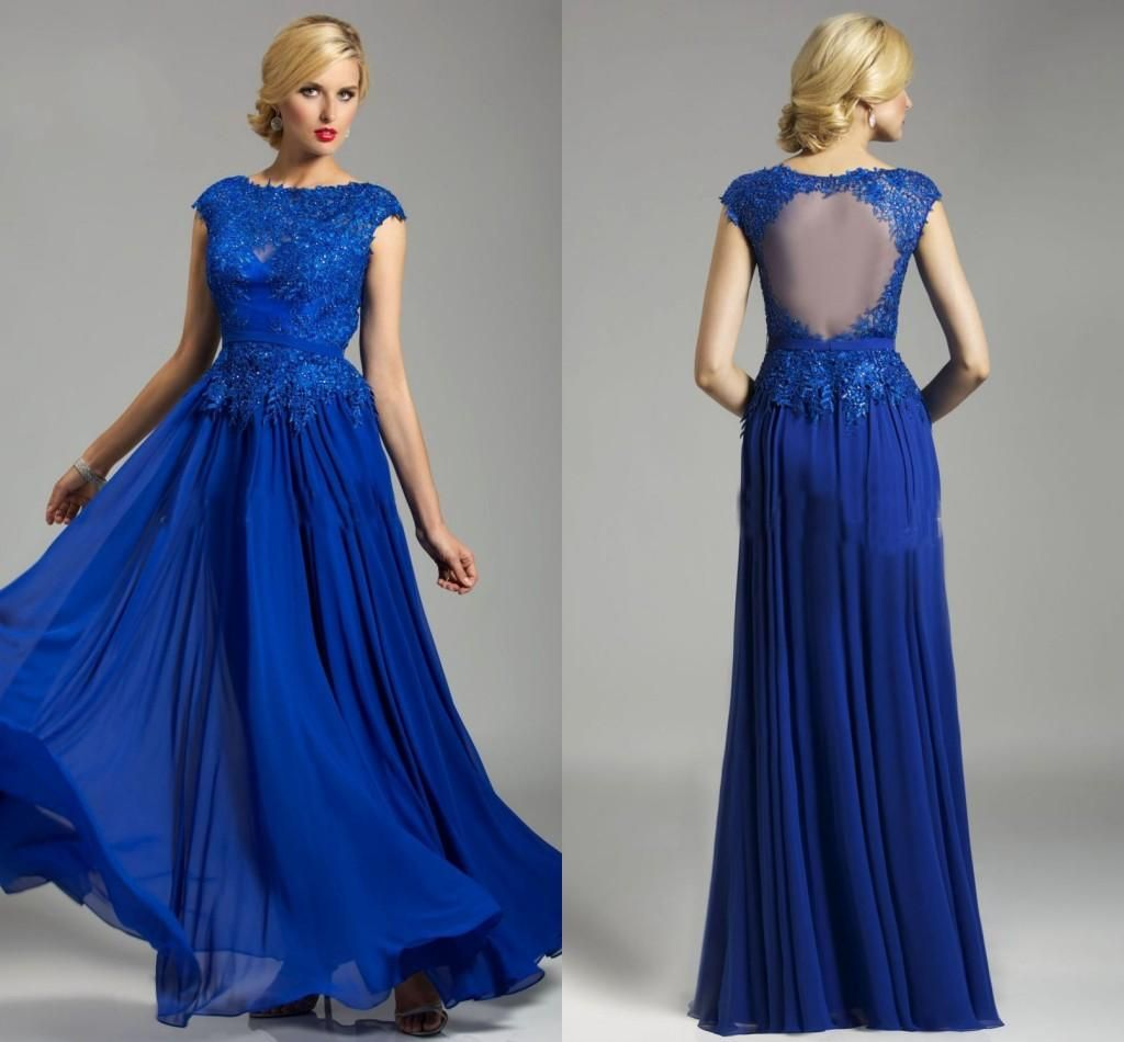 Royal blue floor lenght evening dresses high collar cap sleeves lace
