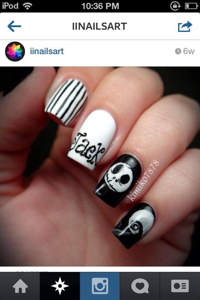 Jack skellington nail art nails | Nail design | Pinterest | Jack ...