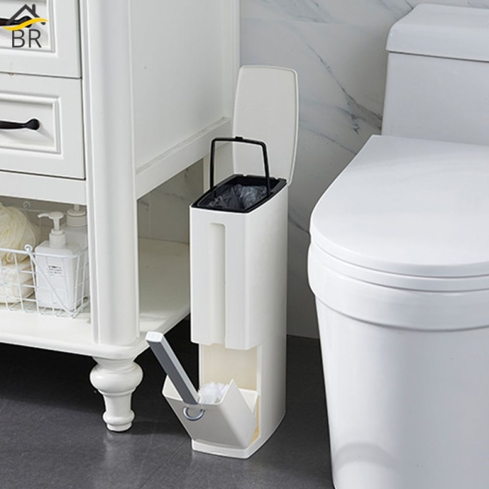 Multi Functional Plastic Trash Can With Toilet Brush Set 19 15