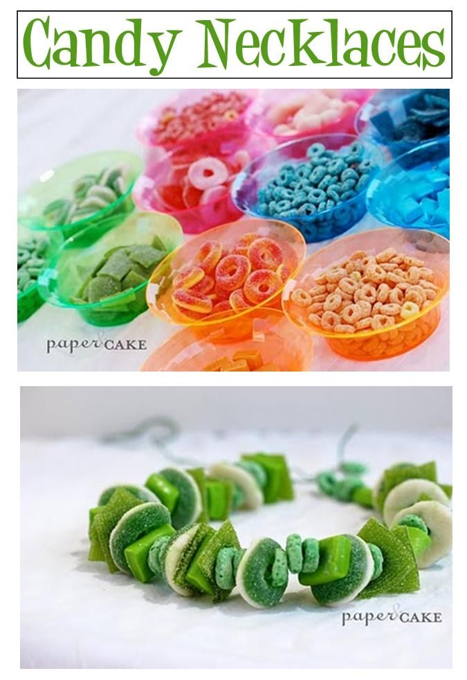 Candy necklace bar for a Childs bday! Love this idea!
