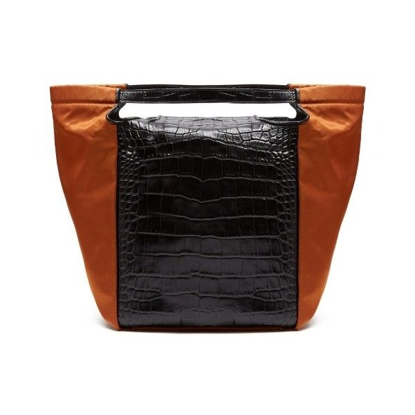 fee0bac5e5 Givenchy Real Trapeze crocodile-effect leather tote (€1.760) ❤ liked on  Polyvore featuring bags, handbags, tote bags, black orange, tote handbags,  handbags ...